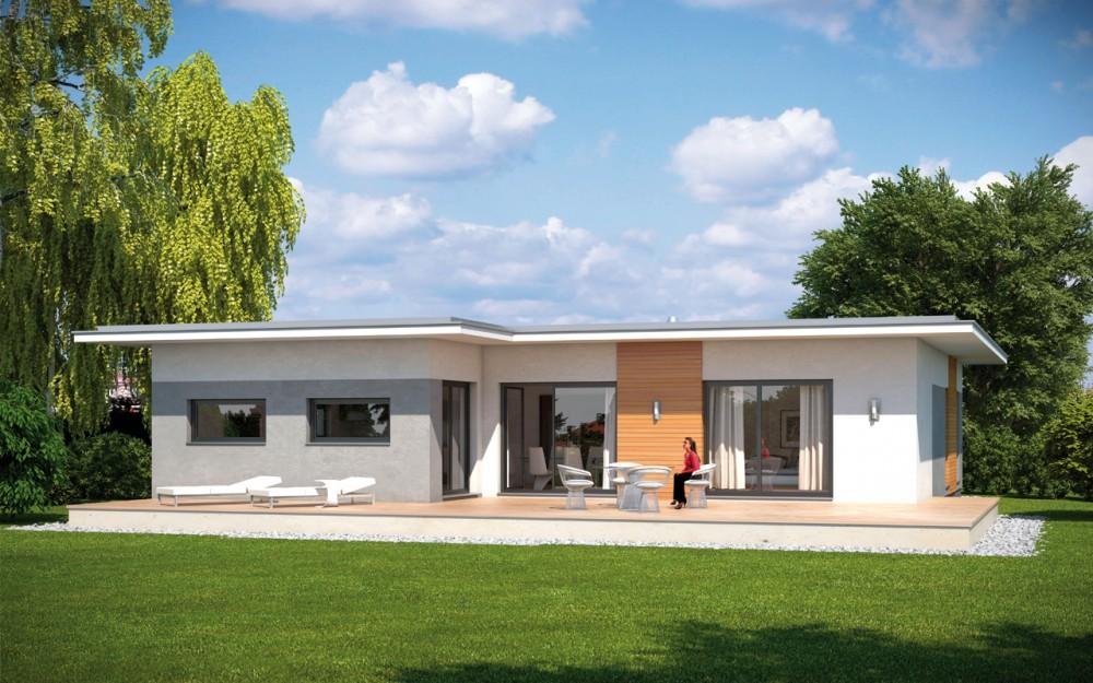 Bungalow flat emondi 135 barrierefrei g nstig - Fertighaus flachdach modern ...